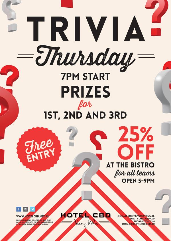 Thursday Trivia Night - Hotel CBD