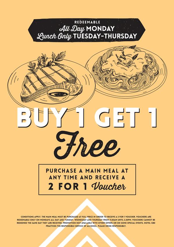 Buy 1 Get 1 Free Bistro Special - Hotel CBD